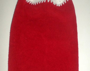 Nice Crochet Top Towel - Red Christmas Towel - Hanging Towel - Kitchen Towel - Plush Towel - Nice Holiday Towel - Hanging Dish Towel