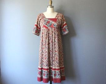 vintage 70s festival dress / floral hippie dress / s m