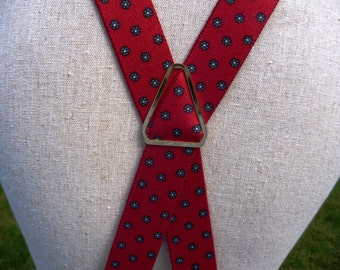 Mens Red Suspenders- Clip On- Cross X Back- Blue Flower Design All Over Print- Stretch Elastic Braces- Gold- Hipster Guy Valentines Gift Him
