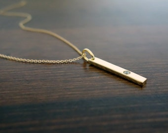 Crystal Diamond Bar Necklace / Gold Bar Pendant Necklace / Simple Gold necklace Design