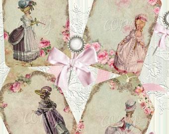 INSTANT DOWNLOAD - Enchanted Marie Hang Tags -   Digital Download - Printable  Digital Collage Sheet