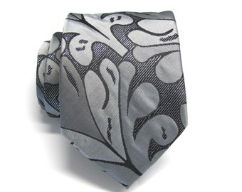 Mens Ties Gray Silver Black Floral Pattern Necktie With Matching Pocket Square Option