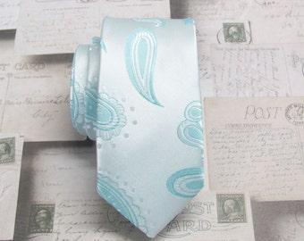 Mens Ties Pastel Blue Paisley Skinny Necktie