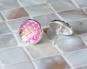 Mermaid Jewelry, Mermaid earrings, silver stud earrings, Coral Pink earrings, nautical earrings, best friend gift, bridesmaid jewelry