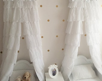 TWINS Canopys Bed Twin Sisters Princess WHITE RuFfLed Upholstered TWO EmBrOiRdeRed Custom cornice valance Baby So Zoey Boutique design SaLe