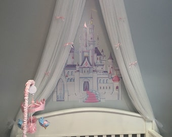 Crib Canopy Crown Princess Bed Pink Petite Bows with WHITE sheers INCLUDED SALE