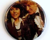 Vintage Doctor Who Pinback Button Third Doctor & Sarah Jane Smith