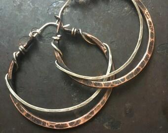 Copper Hoop Earrings / Big Hoops / Hammered Hoop Earrings / Mixed Metal / Hoops / DanielleRoseBean / Silver Hoops /Copper Earrings