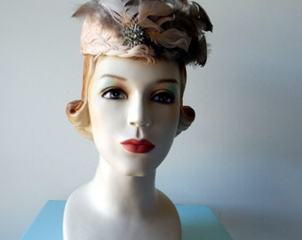 Vintage 1960's feather rhinestone Hat