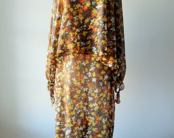 Sale Corky Craig California Vintage Maxi Dress, Floral, Butterfly Sleeves, Dead Stock