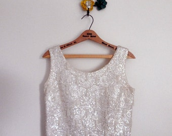 Perle' tank | 1960s sequin shell | vintage beaded 60s tank top