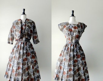 Floral dress and jacket | vintage 1950s dress • 50s dress and jacket