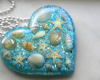Shell Jewelry, Beach Necklace, - Aqua Blue Resin Pendant, Mermaid Jewelry Beach Wedding, Summer Jewelry, Real Seashell Necklace by isewcute