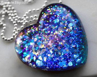 Resin Jewelry Glitter Heart Necklace, Resin Heart Pendant, Glitter Jewelry Aqua Navy Lavender, Sparkly Glitter, Statement Necklace, isewcute