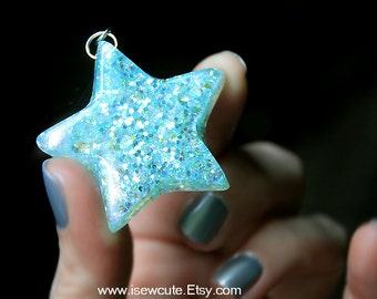 Star Necklace Aqua Blue Sparkle, Glitter Star Necklace, Catch a Falling Star, Aqua Glitter Star Celestial Resin Jewelry Handmade by isewcute