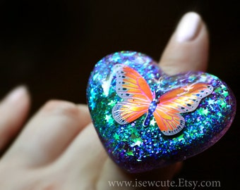 Butterfly Glitter Ring Summer Boho Style Resin Jewelry, Heart Ring Green Purple Resin Ring, Resin Heart Glitter Ring Handcrafted by isewcute