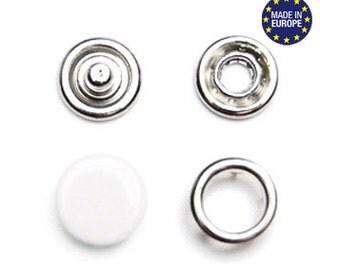 25 sets White 10.5mm Capped Snap Fasteners . european made prong snaps . ref.700241
