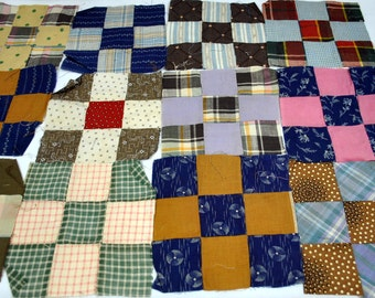 Vintage 9 Patch Quilt Squares - Antique Nine Patch - 40 Squares - Early Fabrics