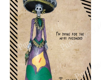 Guest wifi - WiFi Password - wifi Sign Printable - Skeleton - Spanish
