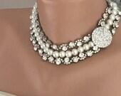 2017 Weddings, Pearl and Rhinestone Necklace, 3 strands Bridal choker ,rhinestone brooch