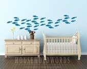 School of Fish Vinyl wall decal decor Peel and Stick Decals Decorations nautical baby nursery bedroom geometric pattern removable stickers