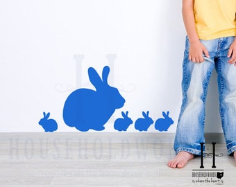 Bunny Rabbit Family Vinyl Decals, Baby Nursery Babies Wall Decal, Easter Decor, Bunnies, Girl Wall Decal, Boy Decals, Farm Animal Decor