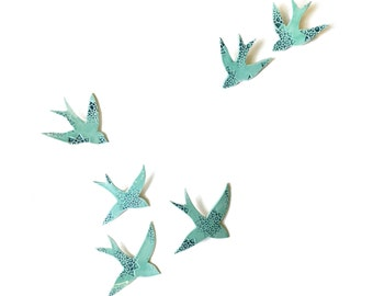 Ceramic wall art Swallows Original artwork Bird wall sculpture Set of 6 Porcelain Unique Bathroom bedroom living room Turquoise blue teal