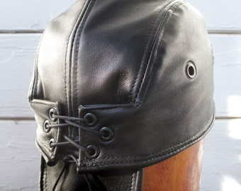Black Leather Skullcap/ Doorag Unisex Style