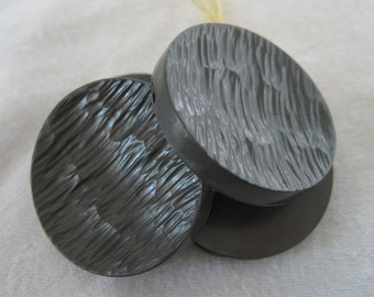 Large Set of 4 VINTAGE Textured Gray Plastic BUTTONS