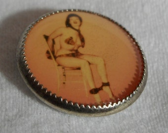 Naughty Girl in Metal BUTTON
