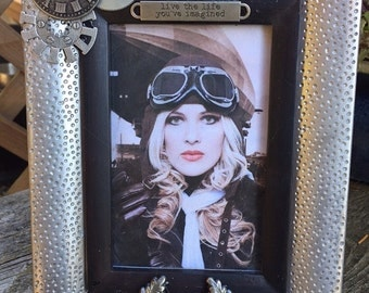 Steampunk Dieselpunk Aviator Airship Captain Picture Frame