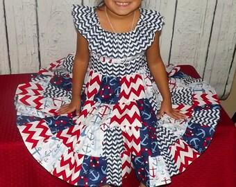 Anchor Nautical Chevron Red White Blue Patchwork Twirl Dress Girls