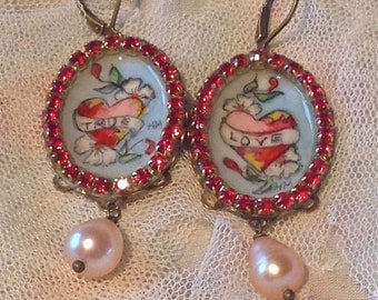 Lilygrace Tattoo Handpainted True Love Heart Cameo Earrings with Vintage Rhinestones, Lapis Lazuli and Pink Freshwater Pearls