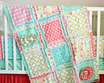 Coral Crib Bedding - Mint / Gold / Coral Nursery Modern Crib Bedding - Floral Crib Set Rag Quilt / Bumpers / Crib Sheet / Ruffle Crib Skirt