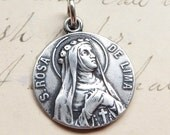 St Rose of Lima Medal - Patron of gardeners & knitters - Antique Reproduction