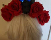 Halloween, Ready to ship, LED, LED rose crown, Skull, Skull crown, Dia de los muertos, Pinup, Rockabilly, Flower Crown
