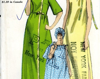 Vogue 6644 Robe Drawstring Night Gown Robe Nightcap Coverup Toga Size 14 Bust 34 Uncut Vintage Sewing Pattern 1960s