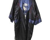 reversible kimono robe ASIAN print satin DRAGON embroidered cheongsam duster jacket