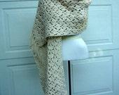 RESERVED for Basbalma Vintage Crocheted Shawl Scarf Wrap Fringe & Extra Wide Ivory Washable Yarn - Versatile Hand Made Fall Style
