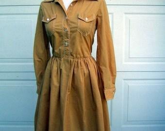 Pumpkin Gold Dress Shirtwaist - Bobbie Brooks Vintage 60s 70s Cotton Blend Washable Size S to M