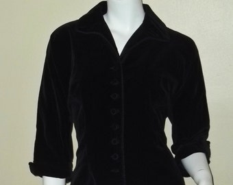 Vintage 50s Fitted Velvet Cropped Rockabilly Jacket S