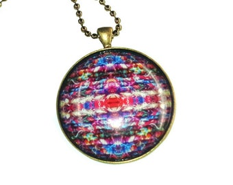 Sari Silk Yarn Abstract Design Glass Dome Photo Pendant Necklace - 38mm round