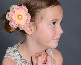 Crochet Flower Hair Clip Flower Barrette Yellow Hair Clip Pink Hair Clip Green Hair Clip Yellow Barrette Pink Barrette Green Barrette