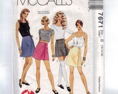 Misses Sewing Pattern McCalls 7671 Easy Wraparound Wrap Mini A Line Skirt Multisize Size 4 6 8 12 14 16 18 20 Waist 26 27 28 30 32 34 UNCUT