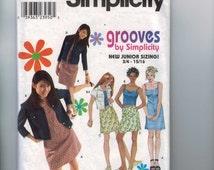 Sewing Pattern Simplicity 9196 Juniors Grooves Shift Dress Top Sundress Skirt Jacket Jean Size 3 4 5 6 7 8 9 10 Breast 28 30 32 UNCUT  99