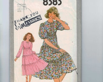 1970s Vintage Sewing Pattern Simplicity 8383 Misses Tiered Peasant Style Dress Size 6 8 Bust 30 31 32 1978 70s