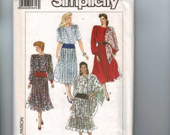 1980s Sewing Pattern Simplicity 9248 Misses and Petite Dress with Pleated Skirt Size 16 18 20 22 24 1989 80s UNCUT  99