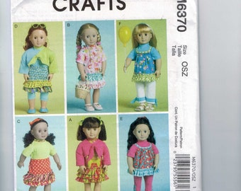 Doll Sewing Pattern McCalls M6370 6370 American Girl 18 Inch Modern Coat Dress Skirt with Ruffles Jacket Wardrobe Clothes UNCUT