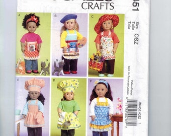 Doll Sewing Pattern McCalls M6451 6451 American Girl 18 Inch Apron Hat Gardening Potholder Kitchen Cooking Wardrobe Clothes Cat UNCUT