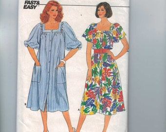 1980s Vintage Sewing Pattern Butterick 3284 Misses Square Neck Housedress MuuMuu Button Front Loose Size 12 14 16 Bust 34 36 38 UNCUT  99